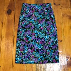 Vintage 80's Pencil Straight Maxi Floral Skirt